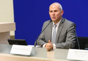 Jerome Salomon during a press conference on coronavirus.