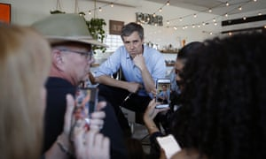 Beto O'Rourke speaks at a campaign stop at a coffee shop in Las Vegas. 'Please, ask a question, make a comment, offer me some guidance or an idea. I am all ears.'