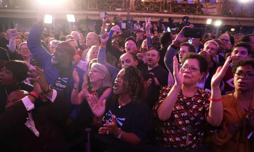 Supporters cheer at Lori Lightfoot's election night party in Chicago.