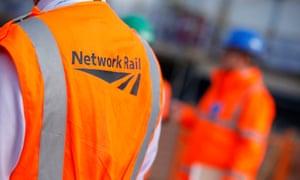 Network Rail worker wearing orange vest