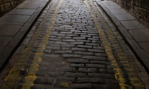 Cobblestones near the Royal Mile in Edinburgh.