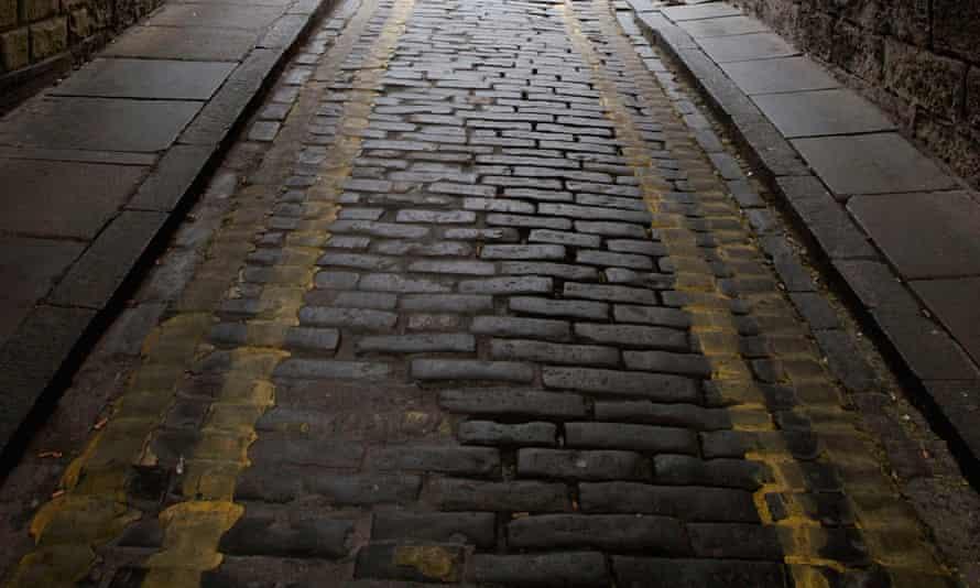 Cobblestones near the Royal Mile in Edinburgh.