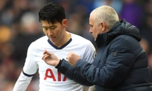 Jose Mourinho makes a point to Son Heung-Min at Villa Park
