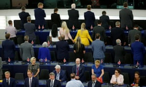 Members of the Brexit party turn their backs to the assembly as the European anthem is played.