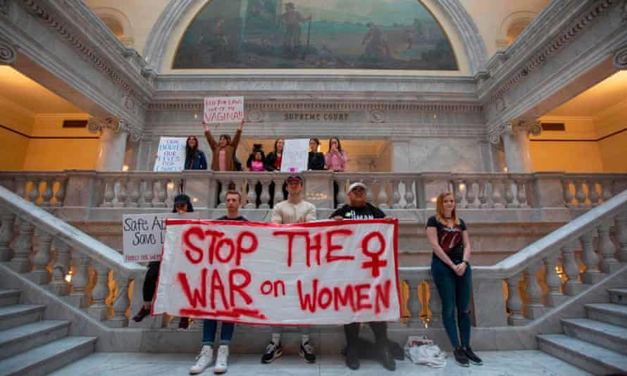 Protesters rally against abortion bans at the capitol building in Salt Lake City, Utah, on 21 May.