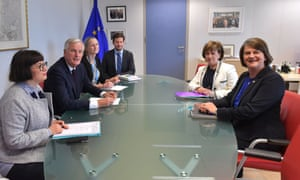 The DUP leader Arlene Foster (R) and MEP Diane Dodds (2nd R) meet the EU's chief Brexit negotiator, Michel Barnier (2nd L).