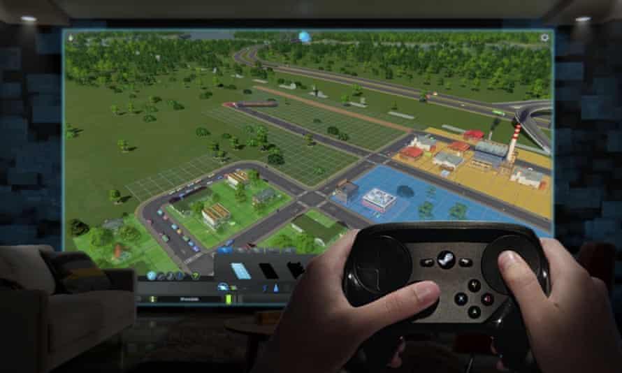 A player using a Steam controller.