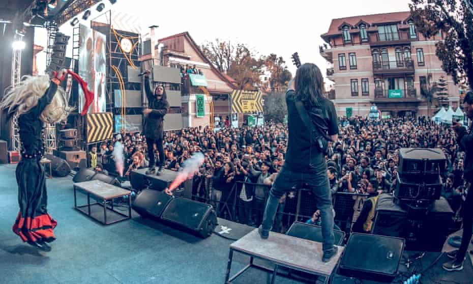 Hello Kathmandu! … Underside performing at the Silence festival of death metal.