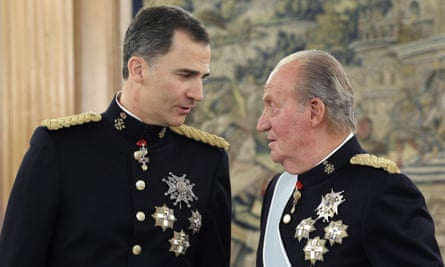 King Felipe and his father, Juan Carlos, in 2014