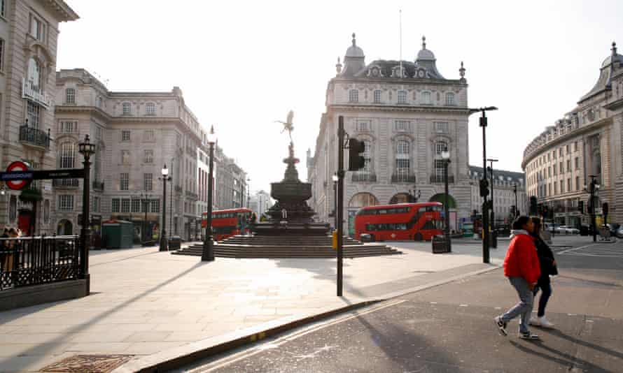 A near-deserted Piccadilly Circus in London, on 8 March 8, 2021.