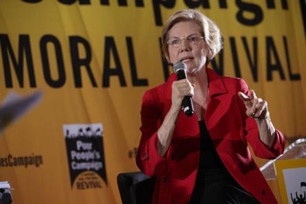 Elizabeth Warren speaking at the event.