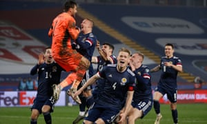 David Marshall celebrates with his team mates in Belgrade