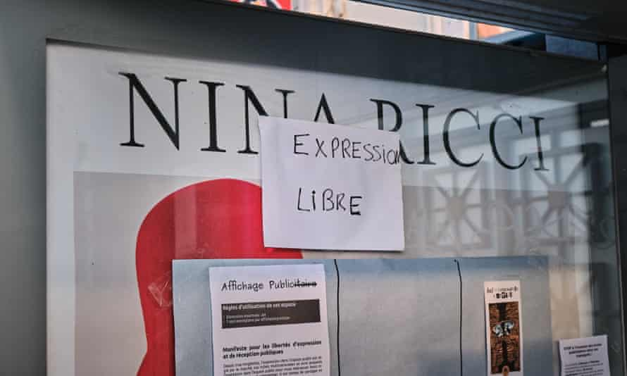 A 'free expression' sign posted in a Lille bus stop by protestors.