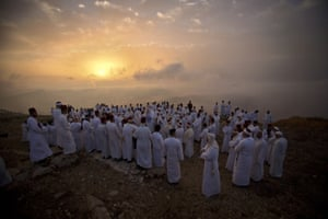 Members of the ancient Samaritan community pray on Mount Gerizim in the West Bank
