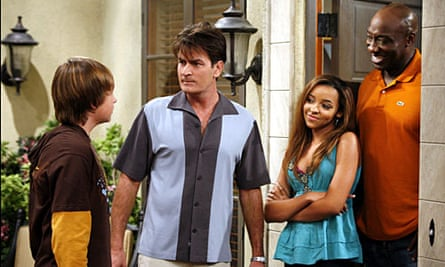 Tinashe with Charlie Sheen on Two and A Half Men.