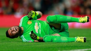 Sergio Romero lies injured but David de Gea, up in the stands, was probably laughing at the United keeper's inept dealing with the backpass.