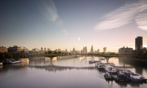 A computer generated image of the Thames Garden Bridge.