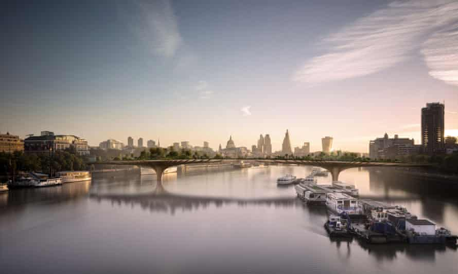 A computer-generated image of the design for the proposed garden bridge across the river Thames. Critics claim the £175m cost would pay for 30 new parks in the capital.