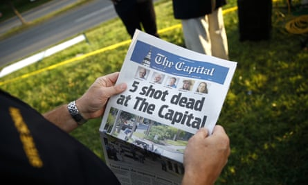 A copy of The Capital Gazette the morning after the mass shooting, on 29 June.