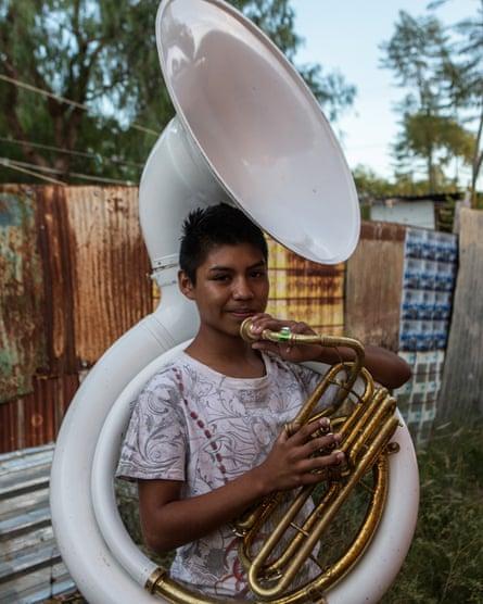 Armando Juarez, 13, tuba player.