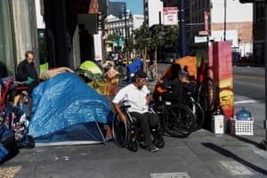 Tents cram the narrow sidewalks of San Francisco's Tenderloin district.