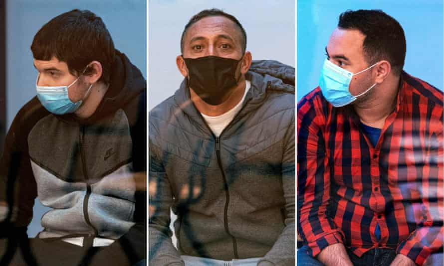 Mohamed Houli Chemlal (left), Driss Oukabir (centre) and Said Ben Iazza, convicted of helping the perpetrators of 2017 jihadist attacks in Catalonia.