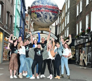 Ambassadors for Project Zero, an ocean conservation group, wear T-shirts promoting a campaign on Carnaby Street in London, England