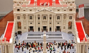 A Lego reproduction of the square at St. Peter's Basilica