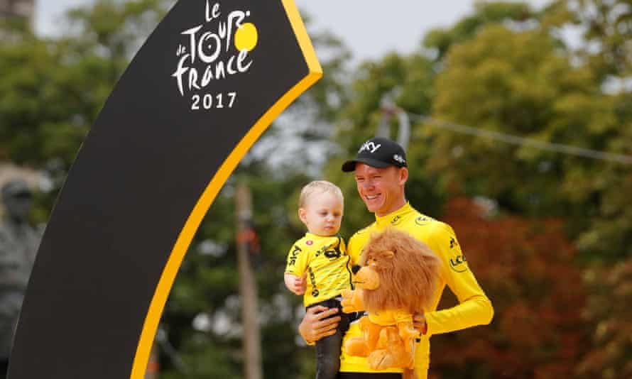 Froome with his son Kellan after winning the 2017 Tour de France.
