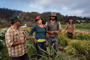Cristóbal, Verónica, Cole and Gaby on their first day back to work after the fire at Cascade Ranch.