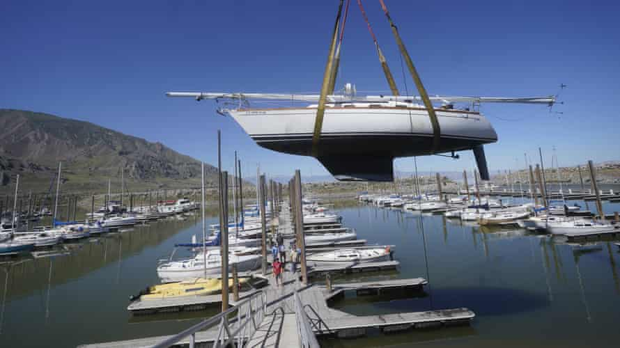 Sailboats are hoisted out of the water at the Great Salt Lake Marina on 3 June 2021.
