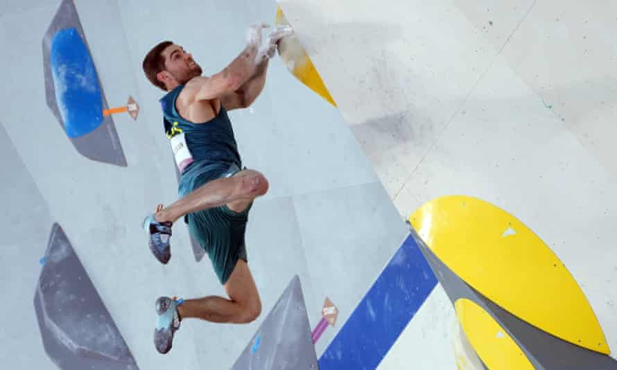 Australia's Tom O'Halloran in action during the Men's Combined Sport Climbing qualifiers at the 2020 Tokyo Olympics