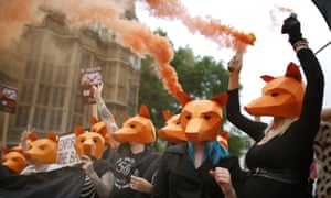 anti-fox hunting Protesters demonstrate outside the Houses of Parliament in 2015
