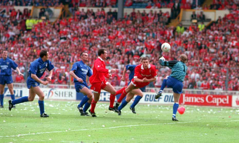 Shaun Taylor's diving header makes it 3-0 to Swindon. That appeared that ... but there was far more drama to come