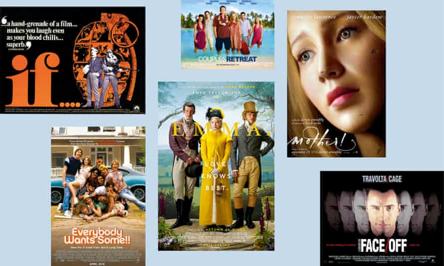 Clockwise from top left: if....; Couples Retreat; mother!; Face/Off; Emma.; Everybody Wants Some!!