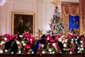 The East Room, on display during a media preview of the 2019 White House holiday decorations.