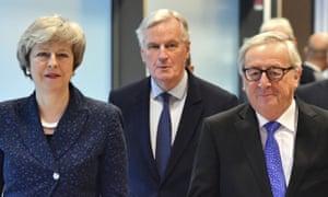 Theresa May, Michela Barnier and Jean-Claude Juncker.