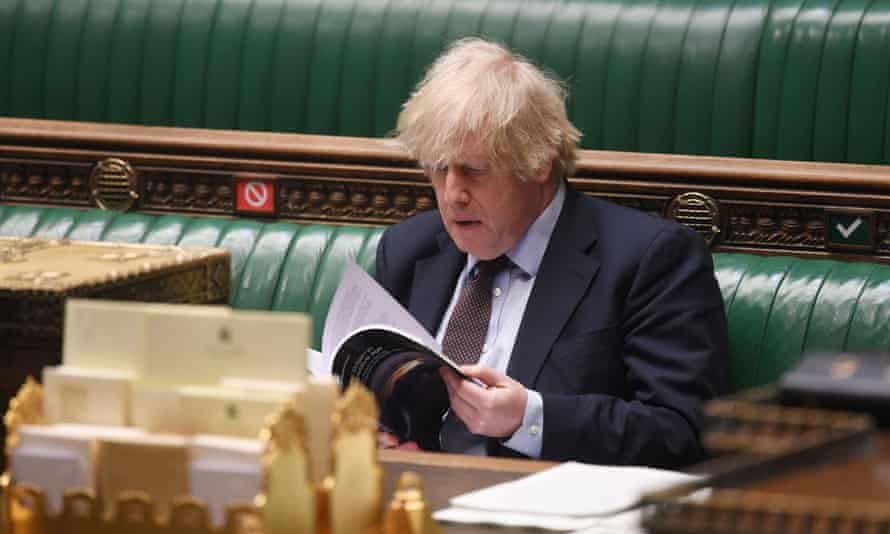 Boris Johnson after making a statement on the integrated review of security, defence, development and foreign policy in the House of Commons, London, 16 March 2021.