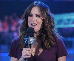 Caroline Flack presenting Sky One's Gladiators.