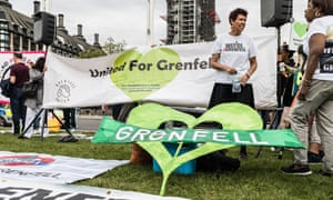 Banners at the Grenfell rally in Parliament Square
