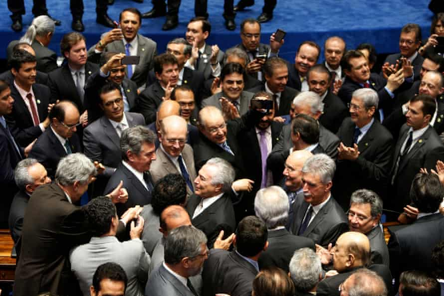 Michel Temer is sworn in as interim president following the impeachment of President Dilma Rousseff on 31 August 2016 in Brasilia, Brazil.
