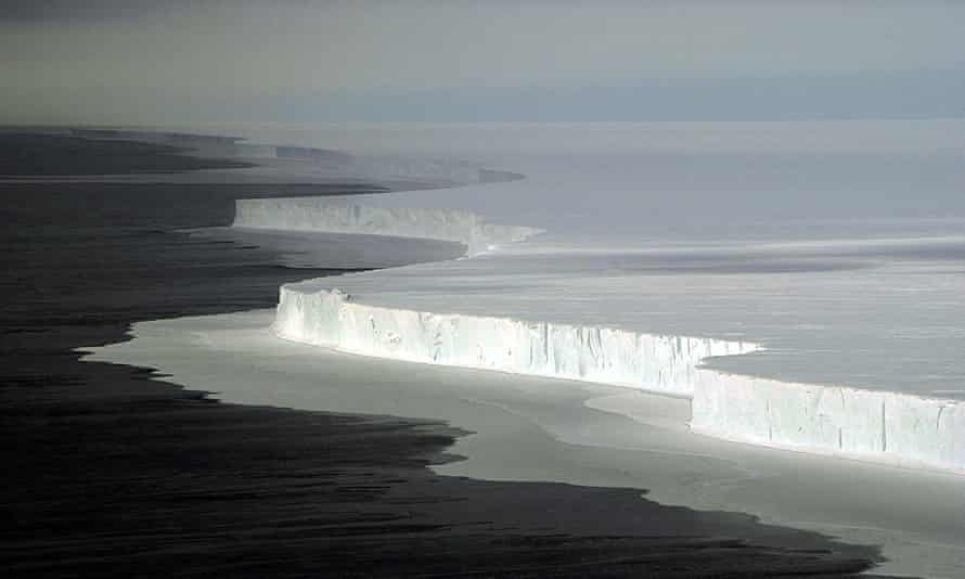 The shear face of the massive B-15A iceberg in McMurdo Sound after it broke off the Ross Ice Shelf in Antarctica.