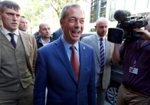 Nigel Farage after announcing he is stepping down as leader of Ukip in London, England