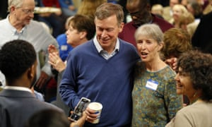 Hickenlooper at a fundraiser in Ames, Iowa, on Saturday.