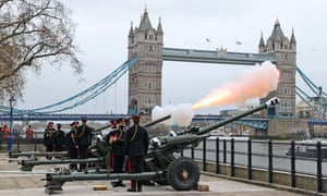The Honourable Artillery Company fire a gun salute at The Tower of London