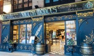 Victor Montes bar restaurant on Plaza Nueva or Plaza Barria (New Square) of Bilbao, Spain.
