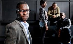 Femi Oguns (left), the founder and CEO of the Identity drama school, with three former pupils (left to right) Adelayo Adedayo, Tobi Bakare and Malachi Kirby.