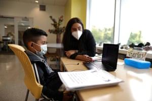 Carlos Sauceda, 6, studies online schoolwork at California Hospital Medical Center's Hope Street Margolis Family Center, amid the global outbreak of coronavirus, in Los Angeles, California, US, 9 September, 2020.