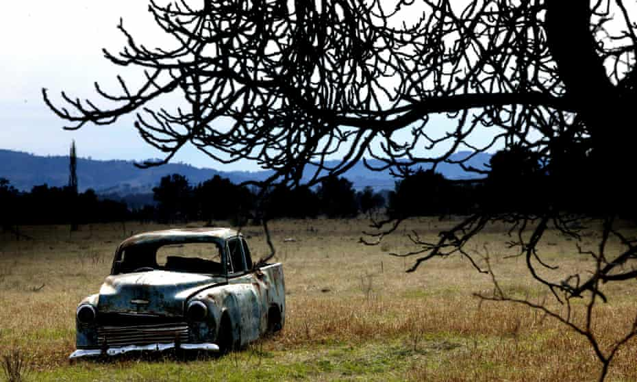 Derelict car sitting on a rural property in western New South Wales