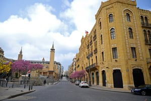 An empty street in Beirut's downtown